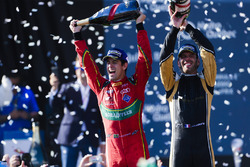 Lucas di Grassi, ABT Schaeffler Audi Sport, and Jean-Eric Vergne, Techeetah, spray the champagne on the podium