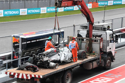 The crashed car of Romain Grosjean, Haas F1 Team VF-17