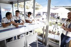 Felipe Massa, Williams, Paul di Resta and Karun Chandhok, in a Williams hospitality area