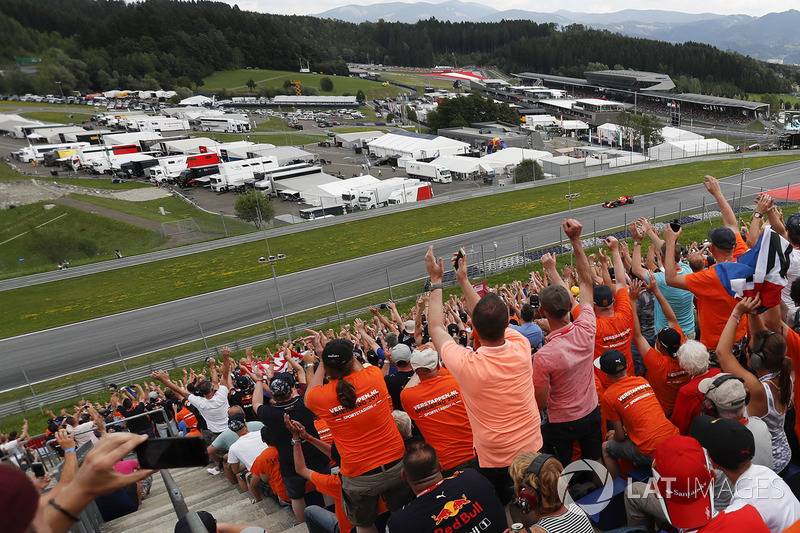 Max Verstappen, Red Bull Racing passes his fans in the grandstand