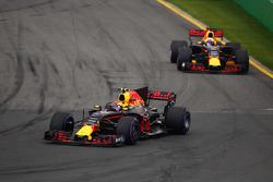 Max Verstappen, Red Bull Racing RB13, leads Daniel Ricciardo, Red Bull Racing RB13