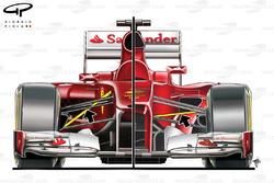 Ferrari F2012 pull rod front suspension (right) compared with F150 push rod suspension (left)