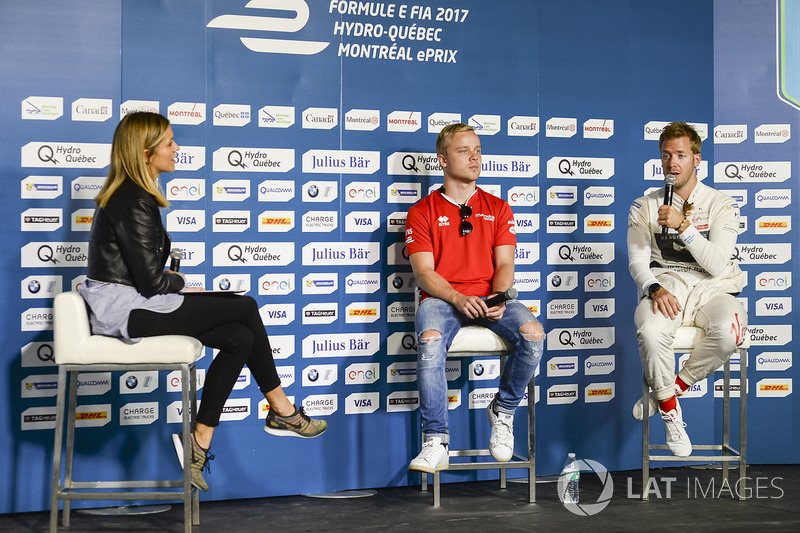 Felix Rosenqvist, Mahindra Racing, y Sam Bird, DS Virgin Racing, en la conferencia de prensa