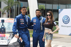 Jeet Jhabakh and Karminder Singh with a grid girl