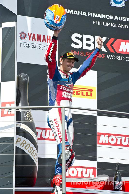 Derde, Michael van der Mark, Honda WSBK Team op het podium