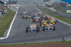 Damon Hill leads Alain Prost, both Williams FW15C Renault's, Ayrton Senna, McLaren MP4/8 Ford, Micha