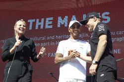 Lewis Hamilton, Mercedes AMG F1, is interviewed on stage, Valtteri Bottas, Mercedes AMG F1