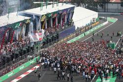 Podium: race winner Max Verstappen, Red Bull Racing, second place Valtteri Bottas, Mercedes AMG F1, third place Kimi Raikkonen, Ferrari
