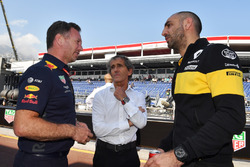 Christian Horner, director del equipo Red Bull Racing, Alain Prost, asesor especial del equipo Renault Sport F1 y Cyril Abiteboul, director general de Renault Sport F1
