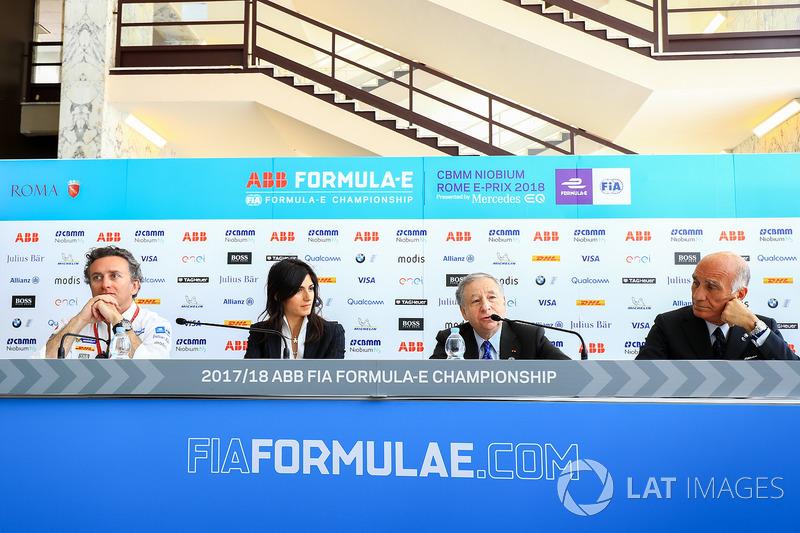 Alejandro Agag, CEO, Formula E, Virginia Elena Raggi, Mayor of Rome, Jean Todt, FIA President, Angel