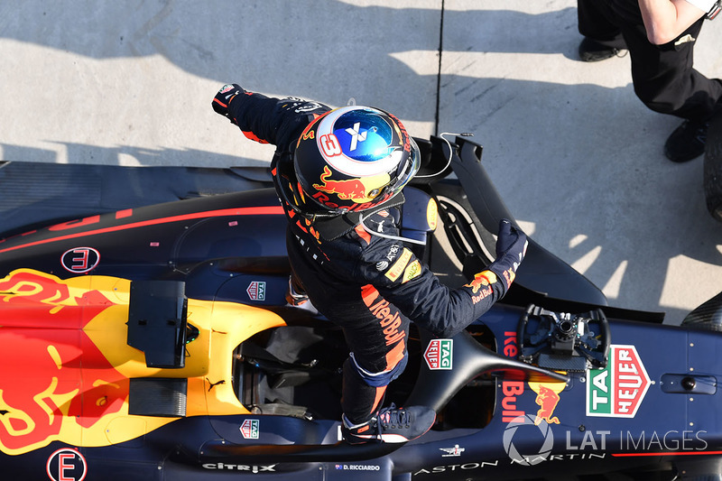 Race winner Daniel Ricciardo, Red Bull Racing RB14 celebrates in parc ferme