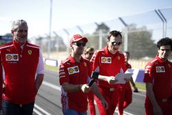 Sebastian Vettel, Ferrari, Riccardo Adami, Ferrari Race Engineer, Maurizio Arrivabene, Ferrari Team Principal walk the track