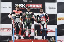 Podium: winner Jonathan Rea, Kawasaki Racing, second place Chaz Davies, Ducati Team, third place Nicky Hayden, Honda World Superbike Team