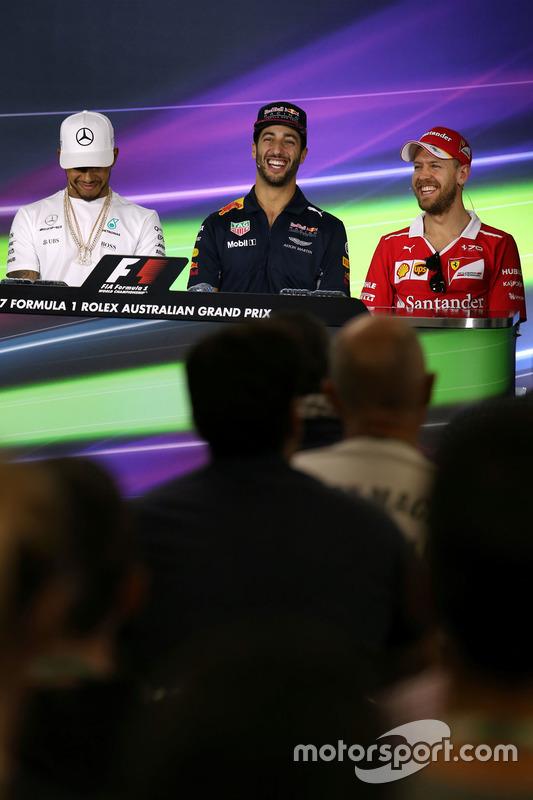 Lewis Hamilton, Mercedes AMG F1; Daniel Ricciardo, Red Bull Racing; Sebastian Vettel, Ferrari
