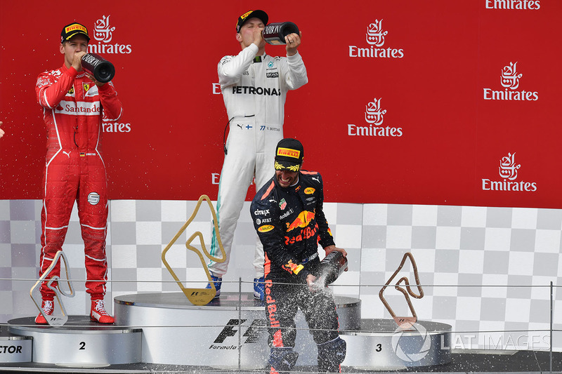 Podium: race winner Valtteri Bottas, Mercedes AMG F1 celebrates on the podium, second place Sebastian Vettel, Ferrari, third place Daniel Ricciardo, Red Bull Racing