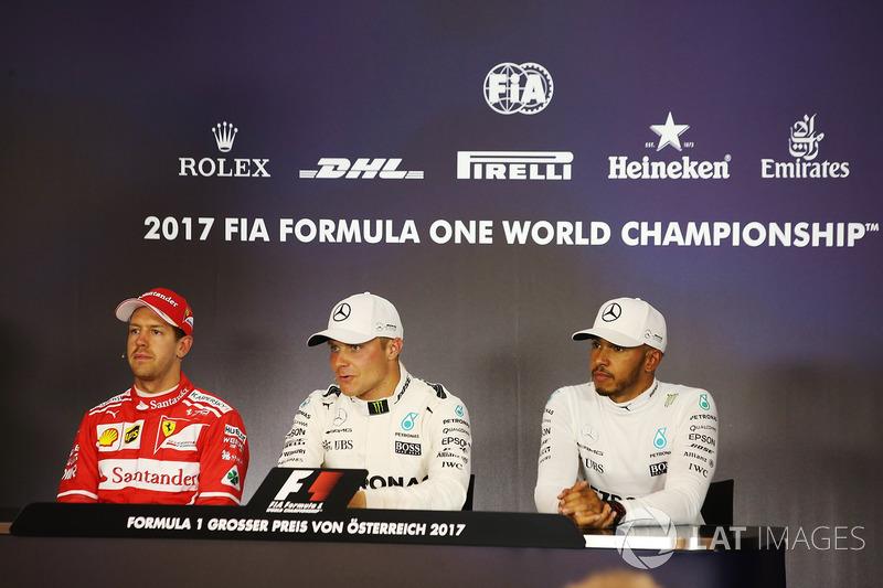Pole: Valtteri Bottas, Mercedes AMG F1, Sebastian Vettel, Ferrari, Lewis Hamilton, Mercedes AMG F1