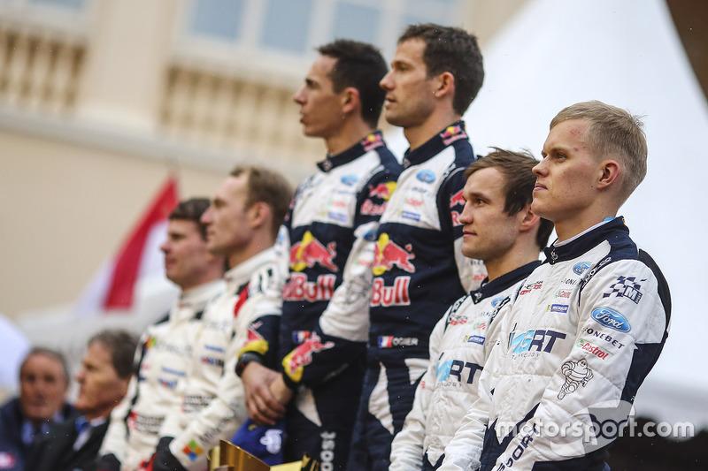 Podio: los ganadores Sébastien Ogier, Julien Ingrassia, M-Sport, los segundos Jari-Matti Latvala, Mi