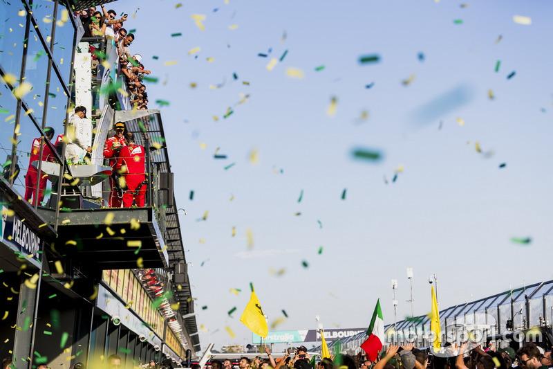Podium: 1. Sebastian Vettel, Ferrari; 2. Lewis Hamilton, Mercedes AMG; 3. Valtteri Bottas, Mercedes AMG