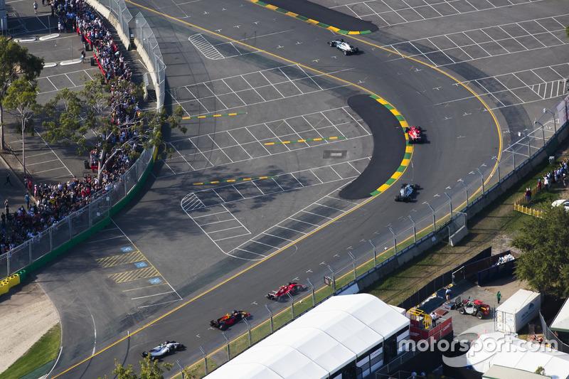 Lewis Hamilton, Mercedes AMG F1, W08; Sebastian Vettel, Ferrari, SF70H; Valtteri Bottas, Mercedes AMG F1, W08; Kimi Räikkönen, Ferrari, SF70H