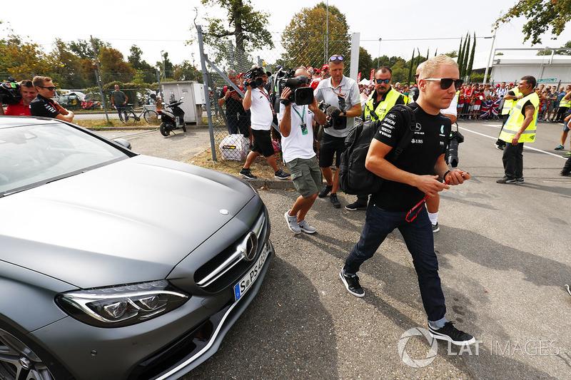 Valtteri Bottas, Mercedes AMG F1, arrives at the circuit