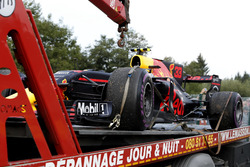 The car of Max Verstappen, Red Bull Racing RB13 is recovered after stopping on track