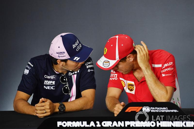 Sergio Perez, Racing Point Force India F1 Team e Sebastian Vettel, Ferrari alla Conferenza Stampa