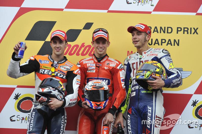 2010: 1. Casey Stoner, 2. Andrea Dovizioso, 3. Valentino Rossi