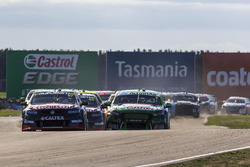 Start action: Shane van Gisbergen, Triple Eight Race Engineering Holden and Mark Winterbottom, Prodrive Racing Australia Ford