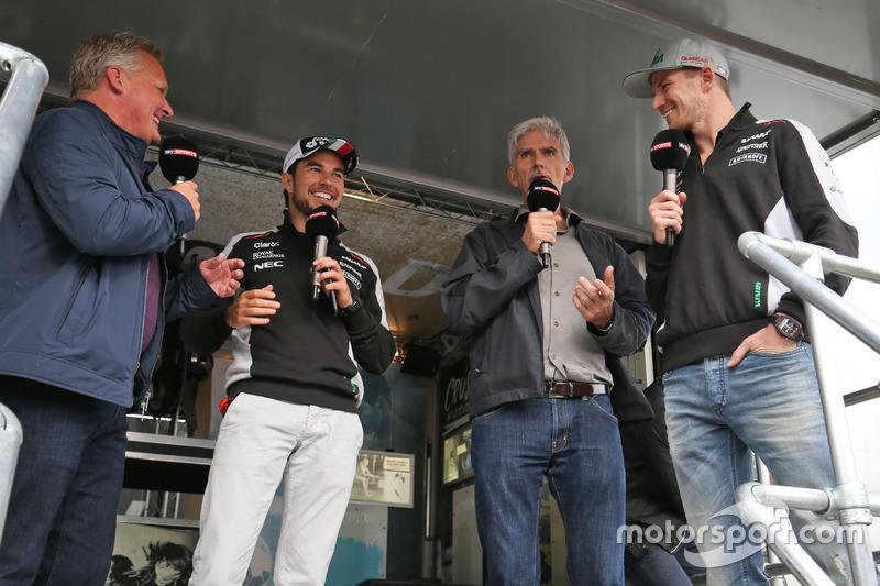 Johnny Herbert, Sky Sports F1 Presentador; Sergio Pérez, Sahara Force India F1; Damon Hill, Sky Spor