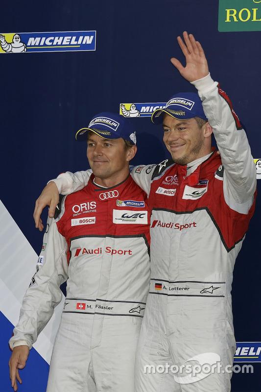 Second place #7 Audi Sport Team Joest Audi R18: Marcel Fässler, Andre Lotterer
