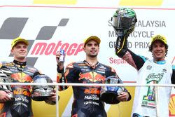 Podium: race winner Miguel Oliveira, Red Bull KTM Ajo, second place Brad Binder, Red Bull KTM Ajo, third place Franco Morbidelli, Marc VDS