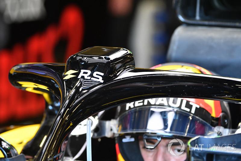 Detalle del Halo del coche de Carlos Sainz Jr., Renault Sport F1 Team R.S. 18