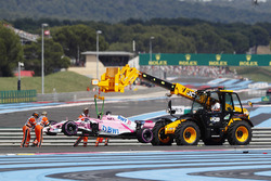 Esteban Ocon's Force India VJM11, is recovered