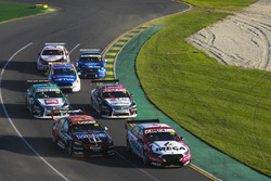 Richie Stanaway, Tickford Racing Ford, leads James Courtney, Walkinshaw Andretti United Holden, Simona de Silvestro, Nissan Motorsport Nissan, Michael Caruso, Nissan Motorsport Nissan, Todd Hazelwood, Matt Stone Racing Ford, Tim Blanchard, Brad Jones Racin