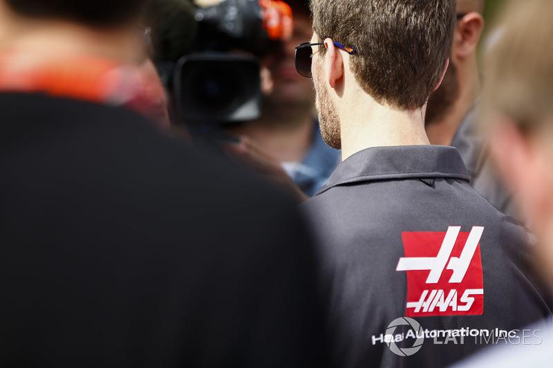 Romain Grosjean, Haas F1 Team, talks to the press