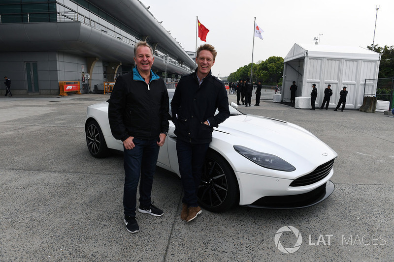 Martin Brundle, Sky TV and Simon Lazenby, Sky TV with Astom Martin DB11