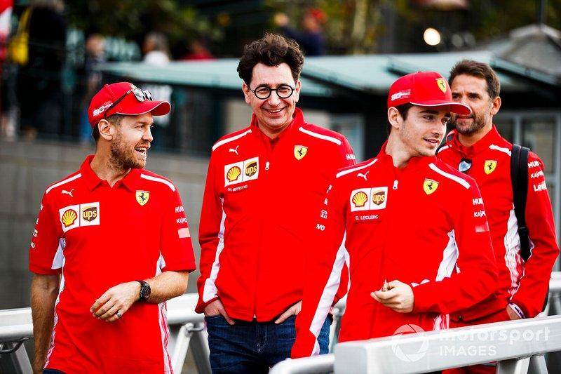 Sebastian Vettel, Ferrari, Mattia Binotto, Charles Leclerc