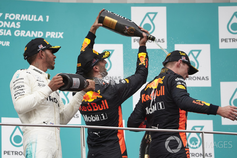 second place third place Lewis Hamilton, Mercedes AMG F1 Daniel Ricciardo, Red Bull Racing, Max Verstappen, Red Bull Racing, race winner, celebrate, Champagne on the podium