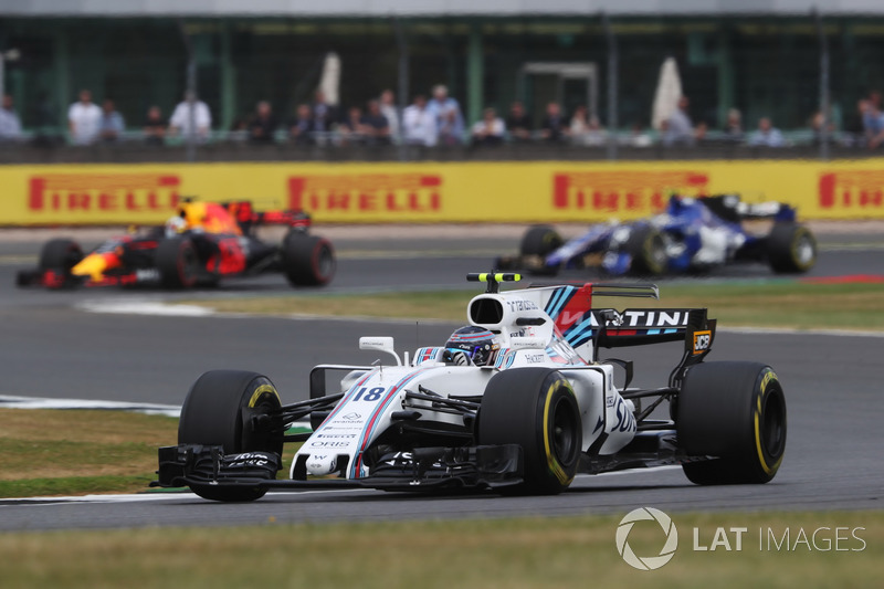 Lance Stroll, Williams FW40, Daniel Ricciardo, Red Bull Racing RB13 e Pascal Wehrlein, Sauber C36