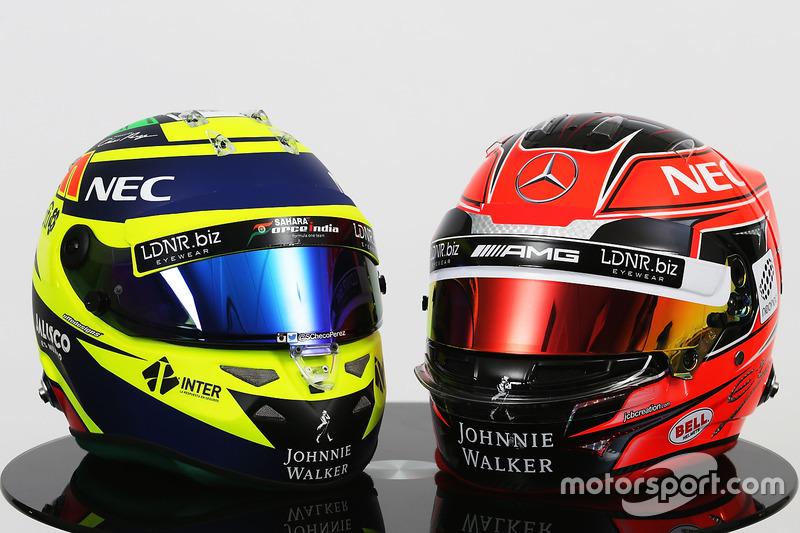 (Izq a der) Los cascos de  Sergio Pérez, Sahara Force India F1 y Esteban Ocon, Sahara Force India F1 Team