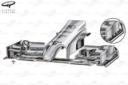 McLaren MP4-29 front wing changes for China - slotted endplate canard (old specification inset)