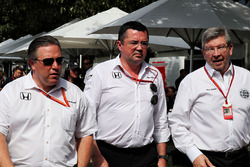 Zak Brown, McLaren Executive Director with Eric Boullier, McLaren Racing Director and Ross Brawn, Managing Director, Motor Sports