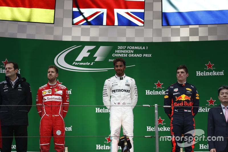 Podium: 1. Lewis Hamilton, Mercedes AMG; 2. Sebastian Vettel, Ferrari; 3. Max Verstappen, Red Bull R