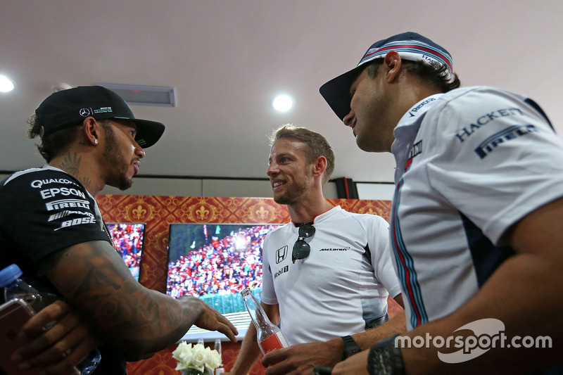 Lewis Hamilton, Mercedes AMG F1 Team; Jenson Button, McLaren Honda; Felipe Massa, Williams F1 Team