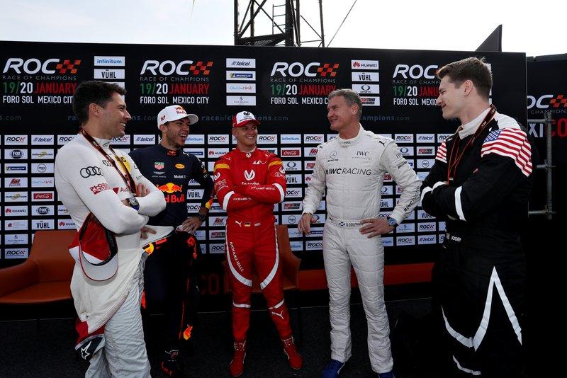 Loic Duval, Pierre Gasly, Mick Schumacher, David Coulthard y Josef Newgarden