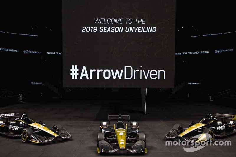 The Arrow Schmidt Peterson Motorsports cars of (left to right) James Hinchcliffe, Robert Wickens and Marcus Ericsson.