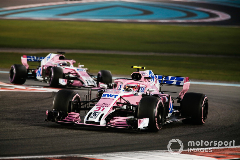 Esteban Ocon, Racing Point Force India VJM11 leads Sergio Perez, Racing Point Force India VJM11