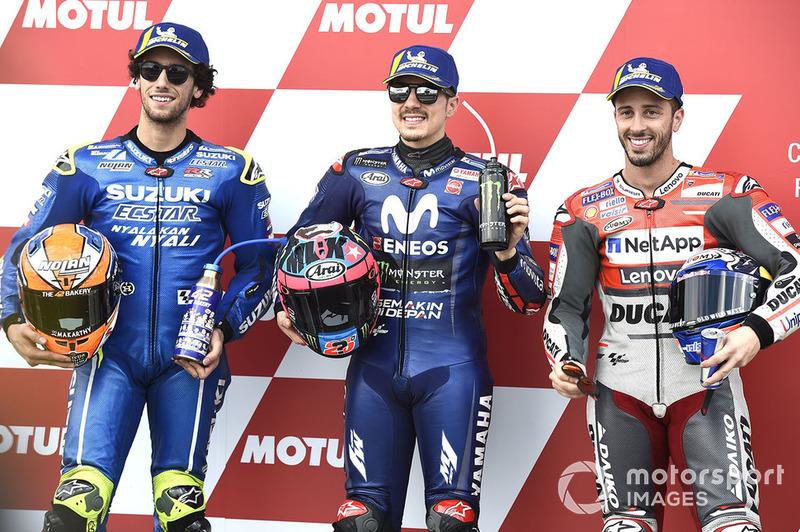 Володар поул-позиції Маверік Віньялес, Yamaha Factory Racing, друге місце Алекс Рінс, Team Suzuki MotoGP, третє місце Андреа Довіціозо, Ducati Team