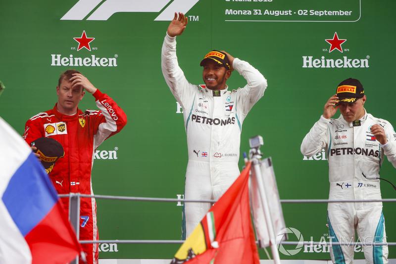 Kimi Raikkonen, Ferrari, Lewis Hamilton, Mercedes AMG F1, Valtteri Bottas, Mercedes AMG F1