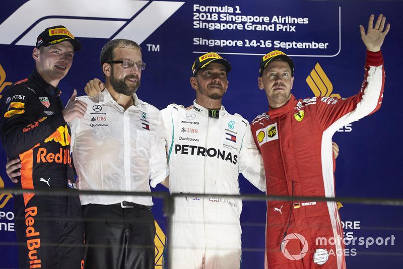 GP de Singapur: 1º Hamilton, 2º Verstappen, 3º Vettel